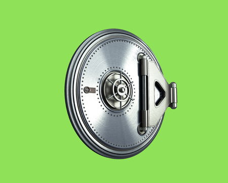 solid: Big safe door background High resolution 3d render green skreen