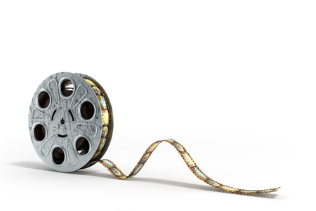 film reel with a film strip 3d render on the white background Stock Photo