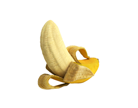 Half peeled Banana Open Banana 3d render no shadow