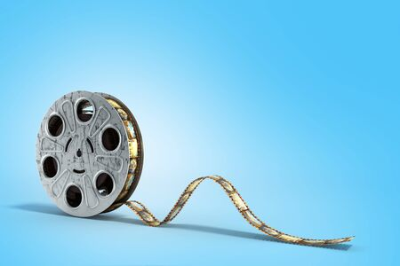 film reel with a film strip 3d render on the blue background