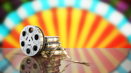 film reel with a film strip cinema background 3d render on blue