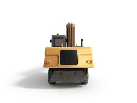 Yellow wheels Bulldozer 3d render on white