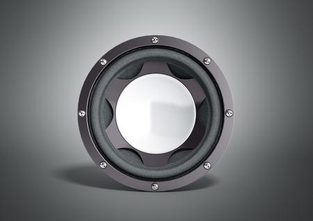 acoustics: black loudspeaker 3d render on grey background Stock Photo