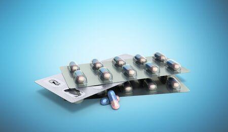 Pills Package Blister 3D illustration on blue  Stock Photo