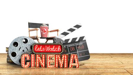 cinema had light concept nave lets watch cinema 3d render wood flor background Imagens - 77491734