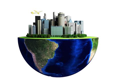 Concetto di urbanizzazione con globo e città su sfondo verde astratto Rendering 3D senza ombra Archivio Fotografico - 77671986