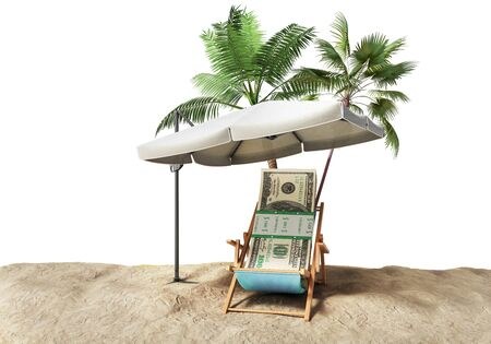 raise the white flag: Concept of a credit vacation Concept travel One hundred dollar bills on a deckchair under an umbrella on the beach 3d render on blue