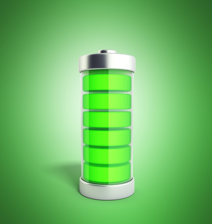 Battery charging Battery charge level indicators on green 3d illustration no shadow