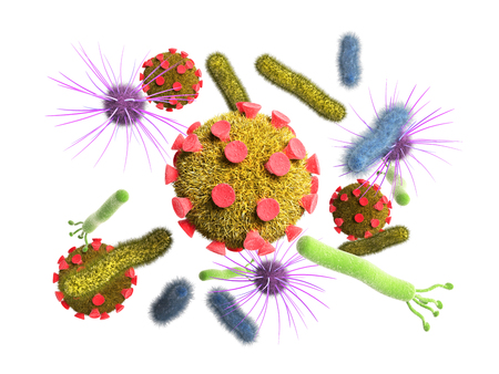 Detailed 3d medical illustration of virusess bacterias on white background