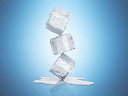 ice cubes 3d render on blue background Stock Photo