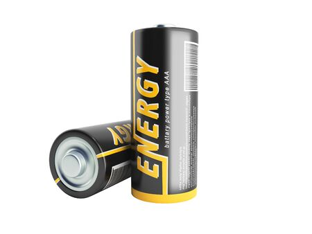 3D Illustration Batteries Image with clipping path no shadow