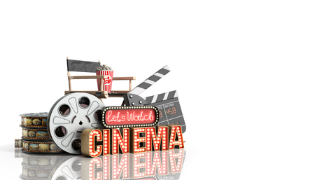 royalty free: cinema had light concept nave lets watch cinema 3d render on white