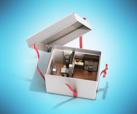 선물로 개념 아파트 오픈 상자에서 주방 인테리어 블루에 3d 렌더링 스톡 콘텐츠
