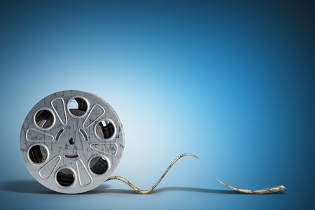 film reel with a film strip 3d render on blue Stock Photo