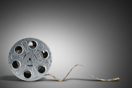 film reel with a film strip 3d render on grey