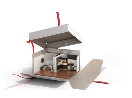 Concept apartment as a gift Kitchen interior in an open box 3d render on white