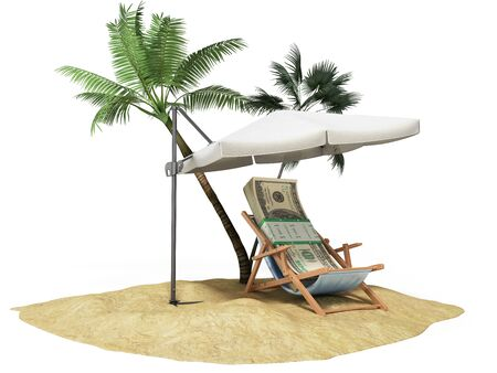 raise the white flag: Concept of a credit vacation Concept travel One hundred dollar bills on a deckchair under an umbrella on the beach 3d render on white Stock Photo