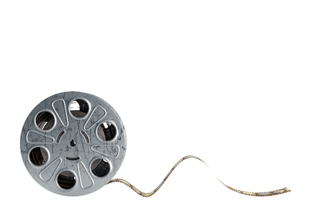 film reel with a film strip 3d render on white no shadow