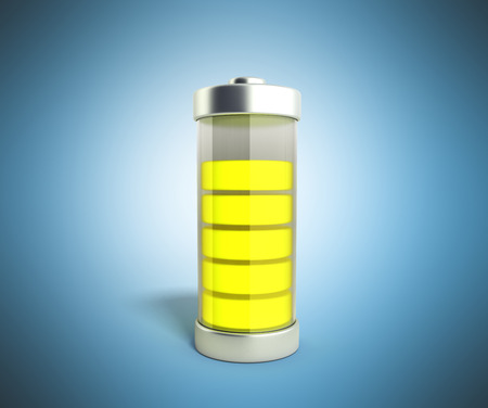 Battery charging Battery charge level indicators on blue 3d illustration Stock Photo