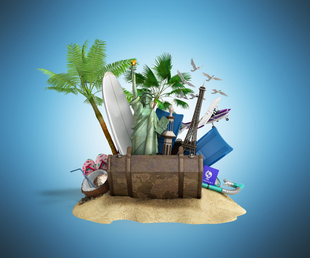Concept of travel and tourism attractions and brown suitcase for travel 3D illustration on blue Stock Photo