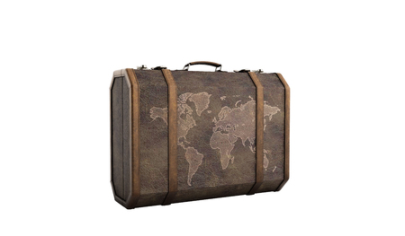 carryall: Vintage travel suitcase 3d render on white background no shadow Stock Photo