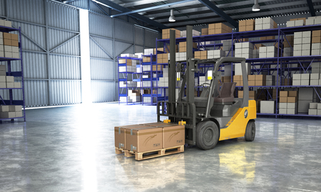 Concept of warehouse The forklift in the big warehouse delivery background 3d illustration Standard-Bild