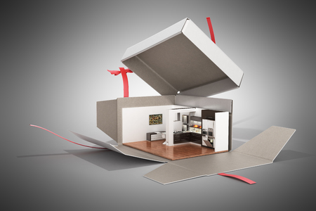 Concept apartment as a gift Kitchen interior in an open box 3d render on grey Stock Photo