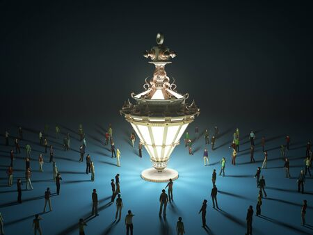 A group of tiny people walking towards a vintage light bulb 3d render