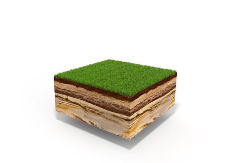 흰색으로 격리 잔디와 횡단면의 3d 그림 스톡 콘텐츠
