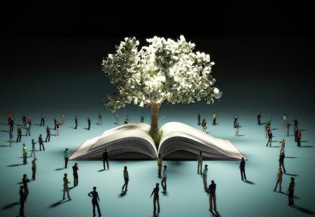 성공의 꿈의 개념 사람들이 빛을 발산하는 돈 나무를보고 빛을 3d 렌더링에 흰색 스톡 콘텐츠