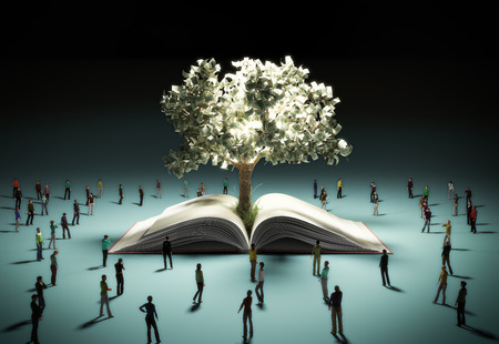 The concept of a dream of success People look at the money tree radiating light 3d render on white