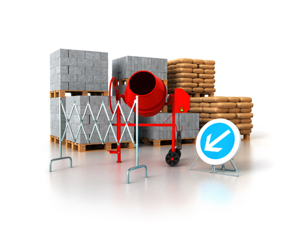 Building materials 3d render on white background