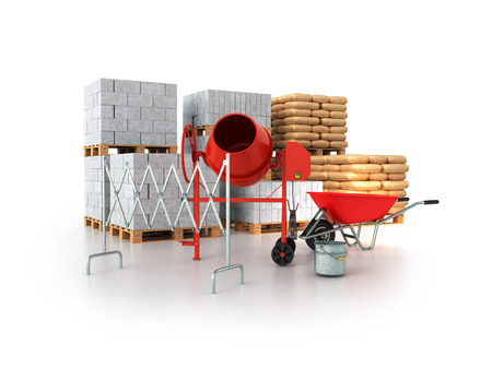 Building materials 3d render on a white background