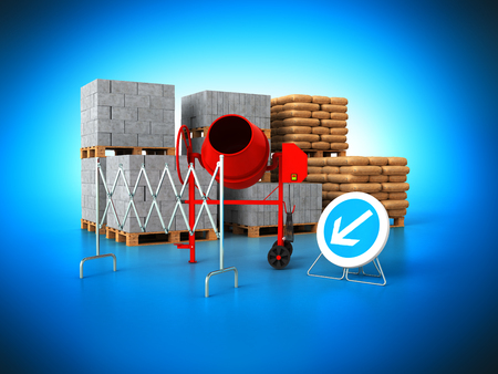 Building materials 3d render on blue background Stock Photo