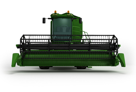 Combine harvester green 3d render on white background