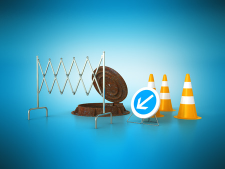 Concept of sewerage 3d render on blue background sewer hatch orange cone fence