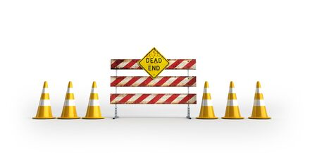 Road works 3d render on white background