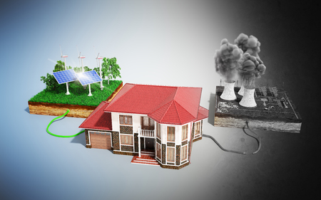 The concept of ecologically clean energy The house is connected to solar panels and weather vanes instead of thermal power stations 3d render Banco de Imagens