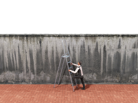 proble: The concept of the pursuit of success A man will climb a wall along a ladder 3d render Stock Photo
