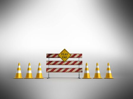Road works 3d render on gray background Stock Photo