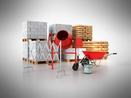 Building materials 3d render on a gray background Stock Photo