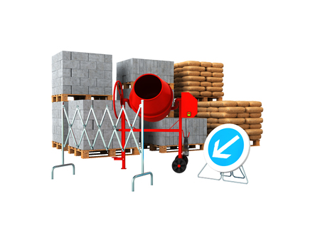 Building materials 3d render on write background no shadow Фото со стока