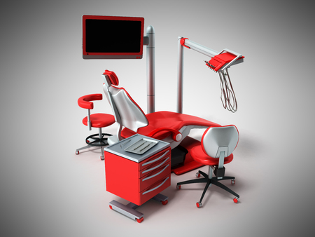 Dental chair 3d on a gray background