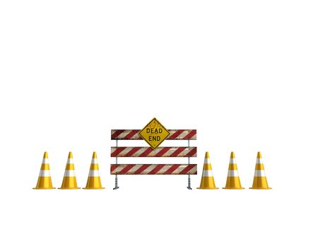 to warn: Road works 3d render on write background no shadow Stock Photo