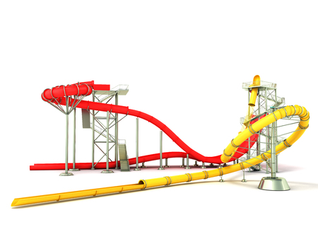 Water park water rides 3d render on white background Stock Photo