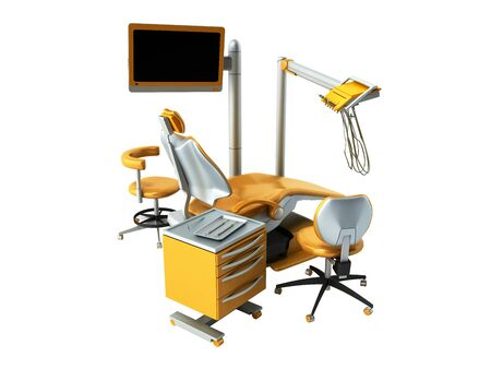 Dental furniture 3D render on write background no shadow