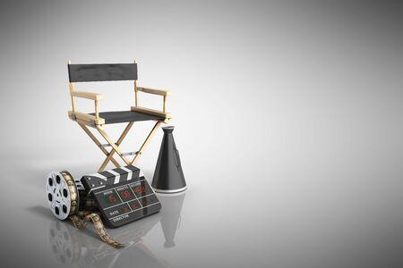 cinema concept  3d render on grey background