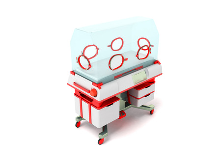 child care: Incubator for children red perspective 3D render on a white background