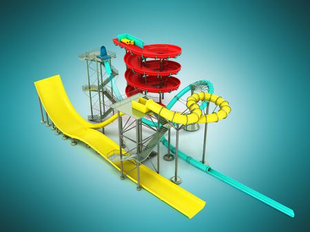 Aquapark water carousels 3d render on blue background