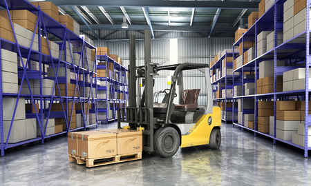 warehouse: Concept of warehouse The forklift in the big warehouse delivery background 3d illustration Stock Photo